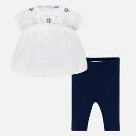 Mayoral White Blouse and Navy Leggings Style 1741