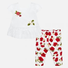 Mayoral White Top and Rose Print Leegings Style 1744